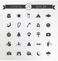 Tourism travel silhouettes icons set vector