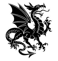 Winged heraldic dragon vector