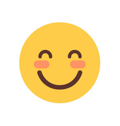 Yellow smiling cartoon face shy closed eyes emoji vector