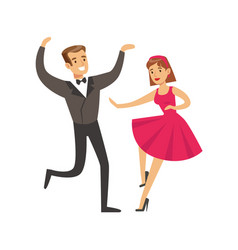 Young couple dancing in elegant clothes colorful vector