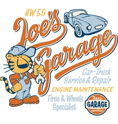 Joe Tiger garage vector image