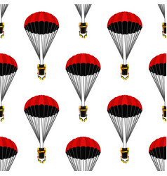 Opened parachute seamless pattern skydiving vector