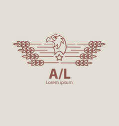 Agriculture eagle logo label for natural farm vector