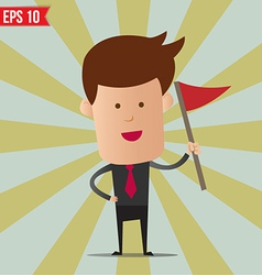 Business man holding flag - - eps10 vector