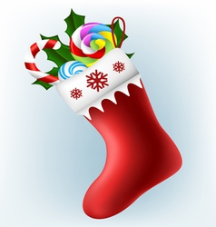 Christmas sock with candy vector image