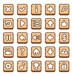 Wooden game buttons vector