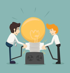 Businessman team work make idea vector