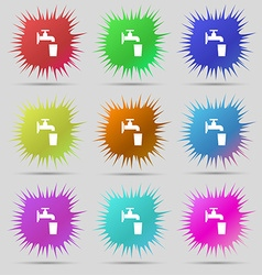 Faucet glass water icon sign a set of nine vector