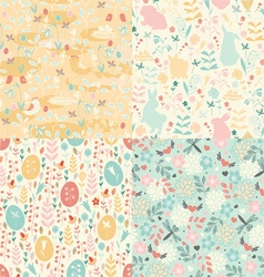 Easter set of patterns vector
