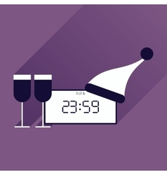 flat icon with long shadow New Year clock glasses vector image