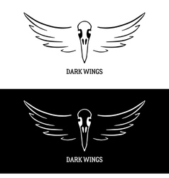 Logo template with raven scull and wings vector
