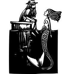 Mermaid and man vector