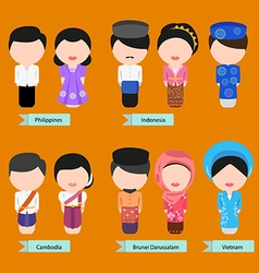 asean clothing2 vector image vector image