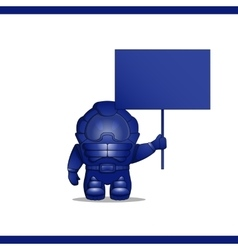 Astronaut stands with board in his hand vector image