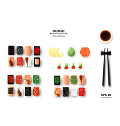 collection of different sushi rolls chopsticks vector image vector image