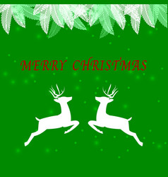 Created merry christmas background with reindeer vector