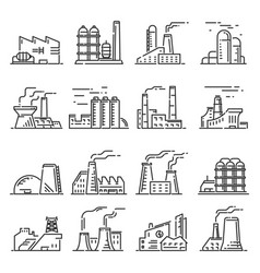 factory building outline set vector image