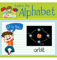 Flashcard letter O is for orbit vector image vector image
