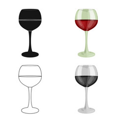 Glass of red wine icon in cartoon style isolated vector