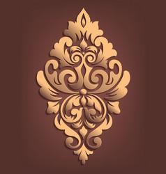 gold damask volumetric ornamental element elegant vector image