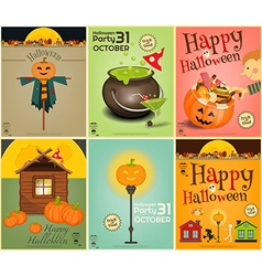 halloween mini posters vector image