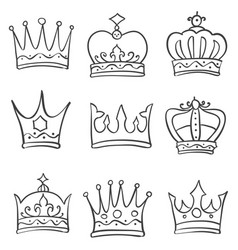 Hand draw crown theme doodles vector