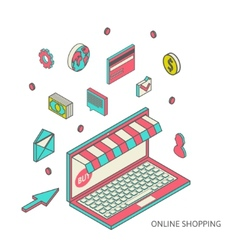 Icons for mobile marketing and online shopping vector image vector image