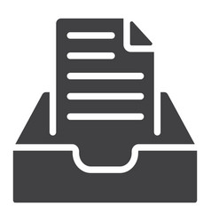 Inbox glyph icon web and mobile message sign vector