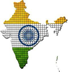 India map with flag inside vector image