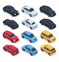 Isometric 3d cars transportation technology vector
