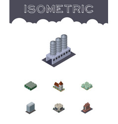 Isometric building set of office company clinic vector