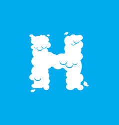 Letter h cloud font symbol white alphabet sign on vector