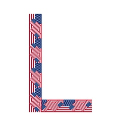 Letter L made of USA flags vector image