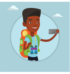 man with backpack making selfie vector image