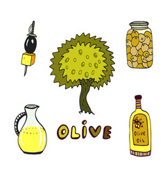 Olive doodle icons set with tree and oil bottle vector