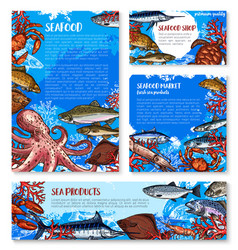 Seafood shop and fish market design templates vector