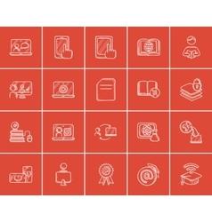 Self-education sketch icon set vector image