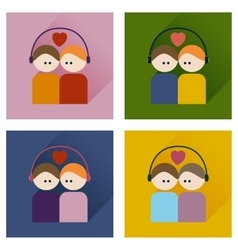 Set flat icons with shadow boy and girl listening vector