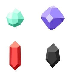set of 4 different gemstones diamonds isolated vector image