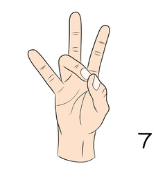 Sign language number 7 vector