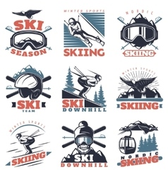 Ski season emblem set vector