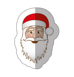 Sticker face cartoon santa claus portrait icon vector