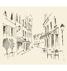 Streets in paris france vintage hand drawn vector