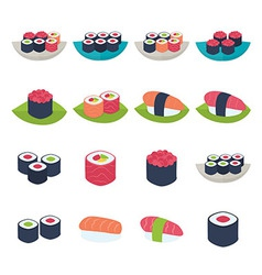 Sushi icon set over white vector image