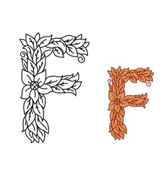 Uppercase letter F in a floral design with leaves vector image