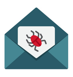 Virus in email flat icon spam and security vector