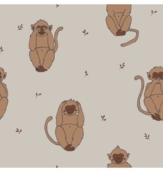 Wise monkeys seamless pattern hear see sayand vector