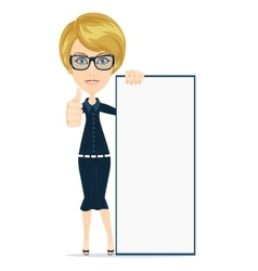Woman holding a poster vector image