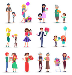 women s day concept colourful collection on white vector image