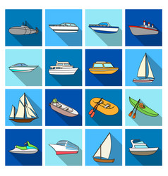 Yacht boat liner types of ship and water vector